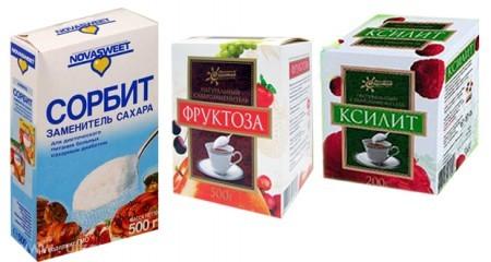 Калорийные заменители сахара:  фруктоза, ксилит, сорбит