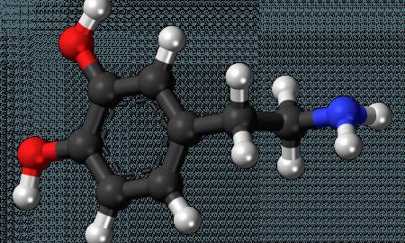 Модель молекулы дофамина, нейромедиатора, который влияет на центр удовольствия мозга.