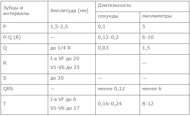 ЭКГ расшифровка у взрослых норма в таблице